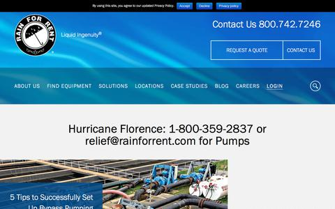 Screenshot of Home Page rainforrent.com - Homepage - Rain for Rent® - captured Sept. 14, 2018