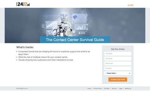 Screenshot of Landing Page 247.ai - The Contact Center Survival Guide - captured April 1, 2018