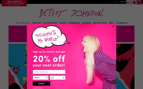 Screenshot of Home Page betseyjohnson.com - Shop Betsey Johnson Dresses, Shoes, Handbags, Accesories & more! - captured Sept. 24, 2018