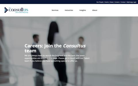 Screenshot of Jobs Page consultus.group - Careers | The Consultus International Group Limited - captured July 16, 2018