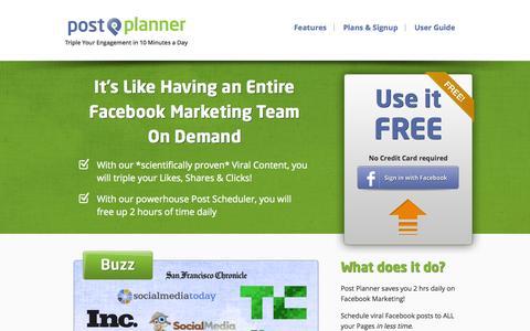 Screenshot of Home Page postplanner.com - Facebook Marketing App Saves You 2 Hours Daily | Post Planner - captured Sept. 18, 2014