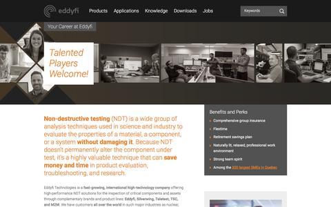 Screenshot of Jobs Page eddyfi.com - Your Career at Eddyfi Technologies - Eddyfi - captured July 16, 2018