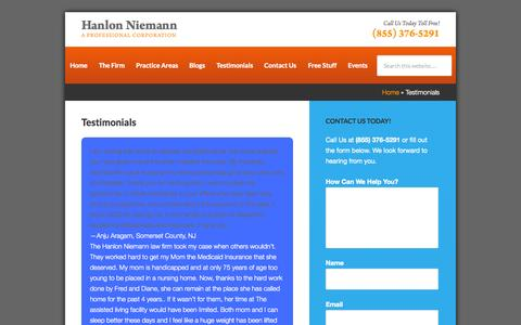 Screenshot of Testimonials Page hnlawfirm.com - Testimonials | Hanlon Niemann, New Jersey Law Firm - captured Oct. 1, 2014