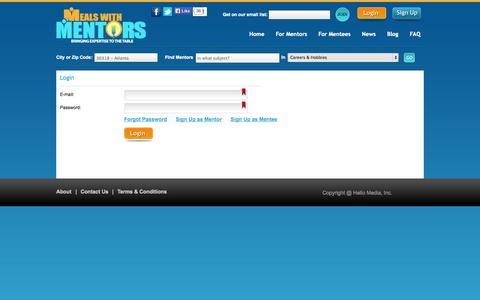 Screenshot of Login Page mealswithmentors.com - Find a Mentor, an Expert, a Coach or Consultant. Get Advice - Meals with Mentors Log In - captured Oct. 27, 2014
