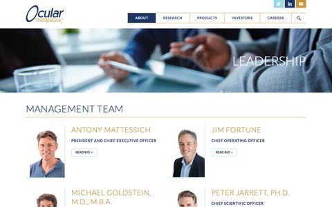 Screenshot of Team Page ocutx.com - Leadership – Ocular Therapeutix - captured Oct. 19, 2017