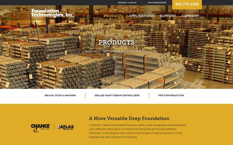 Screenshot of Products Page foundationtechnologies.com - Helical Piles, Piers & Anchor Products from the Industry's Most Trusted Brands - captured Nov. 3, 2014
