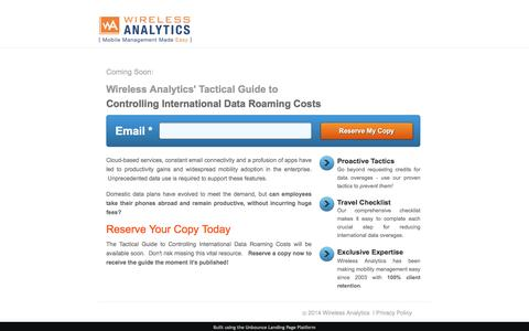 Screenshot of Landing Page wirelessanalytics.com - Coming Soon - Tactical Guide to Controlling International Data Roaming Costs - captured Oct. 29, 2016