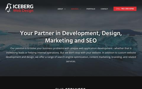 Screenshot of Services Page icebergwebdesign.com - Services - Iceberg Web Design | Web Design, Development & Marketing - captured July 13, 2019