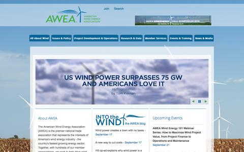 Screenshot of Home Page awea.org - AWEA - American Wind Energy Association - captured Sept. 18, 2016