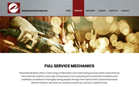 Screenshot of Services Page peszbros.com - Services | Oregon Fabrication | Pesznecker Brothers Inc - captured Sept. 27, 2018