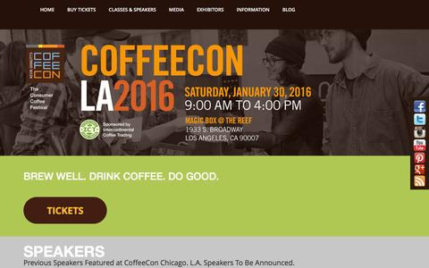 Screenshot of Home Page coffee-con.com - Best Coffee Festival Chicago, San Francisco, New York, Los Angeles - CoffeeCon - captured Dec. 10, 2015