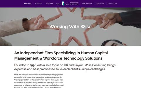 Screenshot of About Page wiseconsulting.com - Work With Us | Wise Consulting - captured Oct. 10, 2019