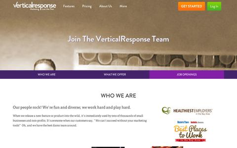 Screenshot of Jobs Page verticalresponse.com - Join the VerticalResponse Team | VerticalResponse - captured Sept. 12, 2014