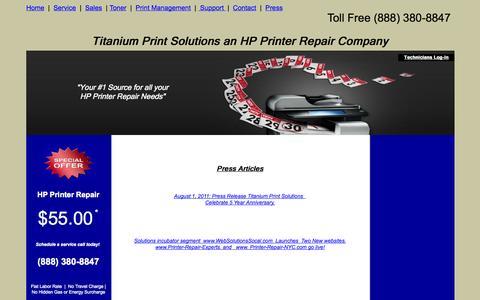 Screenshot of Press Page titaniumprint.com - Press Room  | Titanium Print Solutions (888) 380-8847 - captured Oct. 7, 2014