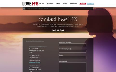 Screenshot of Contact Page love146.org - LOVE146 | CONTACT LOVE146 - captured Sept. 24, 2014