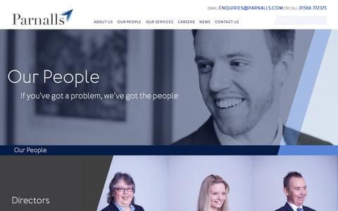 Screenshot of Team Page parnalls.com - Our People - Parnalls Solicitors | Cornwall & Devon Solicitor Firm - captured July 15, 2018