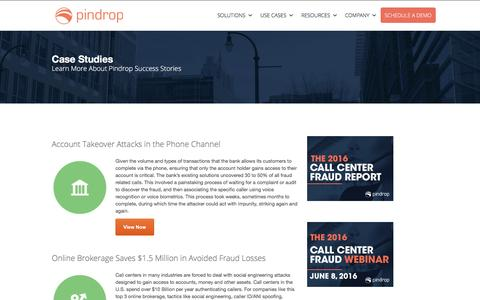 Screenshot of Case Studies Page pindropsecurity.com - Fraud Prevention and Detection Case Studies -Pindrop - captured July 4, 2016