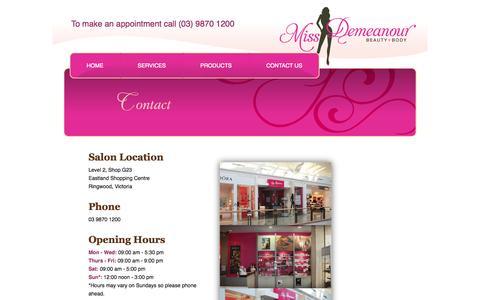 Screenshot of Contact Page missdemeanour.com.au - Contact Us | Missdemeanour - captured Oct. 26, 2014