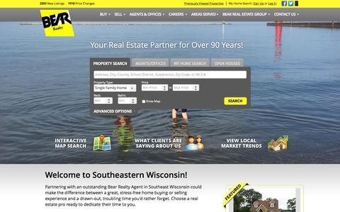Screenshot of Home Page bearrealty.com - Kenosha WI Real Estate | Racine WI Homes for Sale | Salem WI Real Estate | Bear Real Estate Group - captured Sept. 10, 2015