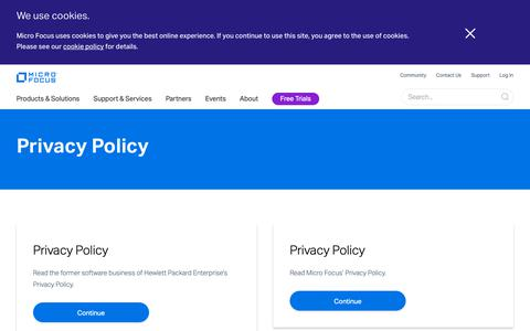 Screenshot of Privacy Page microfocus.com - Privacy Policy | Micro Focus - captured Dec. 10, 2018