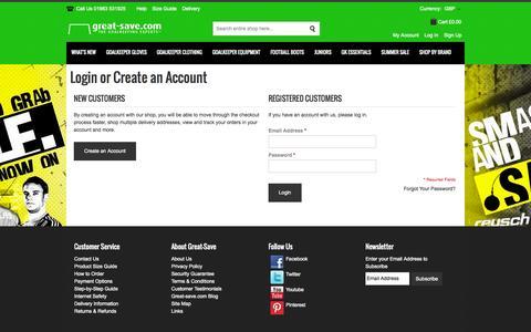 Screenshot of Login Page great-save.com - Customer Login - captured Oct. 3, 2014