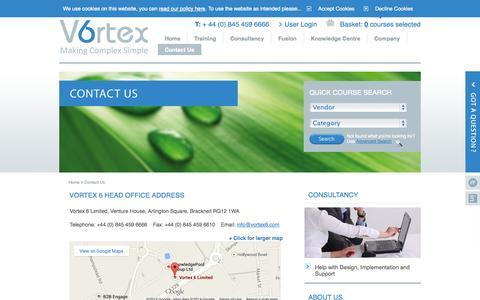 Screenshot of Contact Page vortex6.com - Vortex 6 Head Office Address - captured Oct. 7, 2014