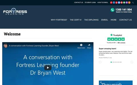 Screenshot of About Page fortresslearning.com.au - Welcome - Fortress Learning - captured July 14, 2019