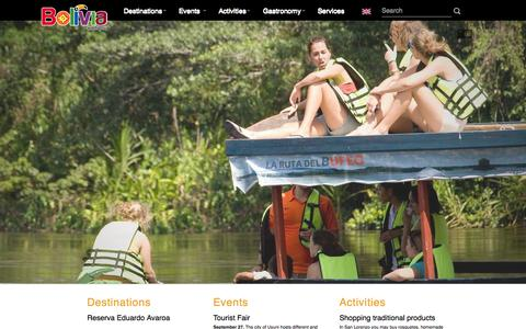 Screenshot of Home Page bolivia.travel - Bolivia te espera - captured Sept. 25, 2014