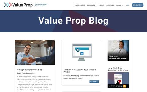 Screenshot of Blog valueprop.com - Blog | Value Prop Interactive - captured July 21, 2019