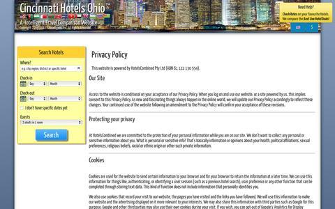Screenshot of Privacy Page cincinnati-hotels-ohio.com - Cincinnati Hotels Ohio Privacy Statement - captured Jan. 25, 2017