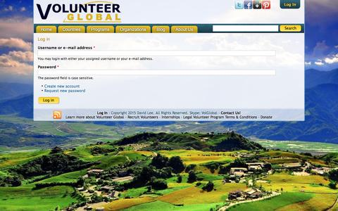 Screenshot of Login Page volunteerglobal.com - Log in | Volunteer Global - captured Aug. 14, 2016
