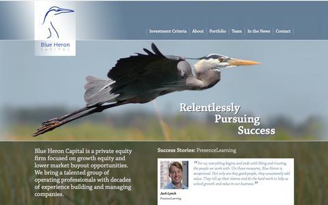 Screenshot of Home Page blueheroncap.com - Blue Heron Capital | Direct Investment - captured Oct. 5, 2014