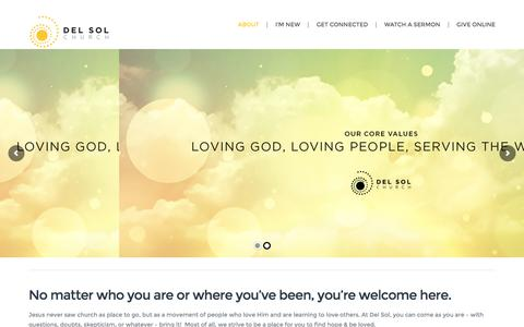 Screenshot of About Page delsolchurch.com - What We're About | Del Sol Church - captured Aug. 1, 2016