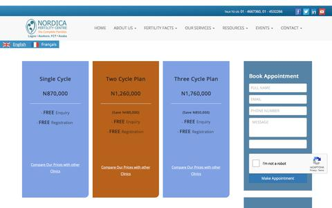 Screenshot of Pricing Page nordicalagos.org - Fertility Pricing, Cost of Ivf In Nigeria | Nordica - captured Sept. 23, 2018