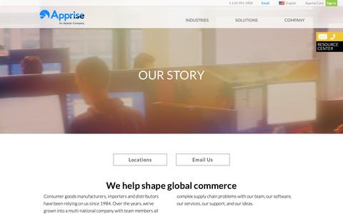 Screenshot of Locations Page apprise.com - Our Story   Apprise - captured Oct. 4, 2018