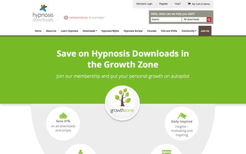 Screenshot of Signup Page hypnosisdownloads.com - Join the Growth Zone | Self Hypnosis Downloads - captured Oct. 9, 2017
