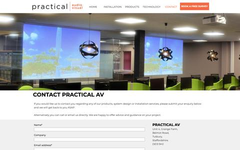 Screenshot of Contact Page practicalav.co.uk - Practical AV - Audio Visual Experts - Free surveys and advice. - captured Sept. 29, 2018