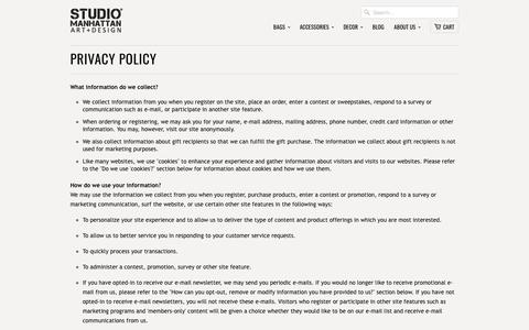 Privacy Policy                           | Studio Manhattan