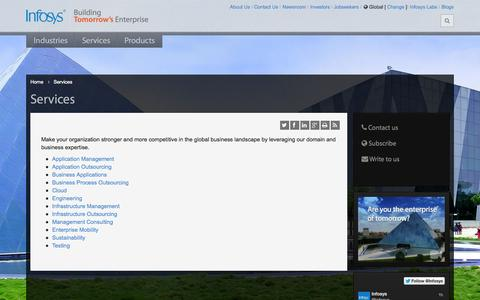 Screenshot of Services Page infosys.com - Infosys - Business Consulting Services | Technology Services | Cloud - captured Sept. 18, 2014