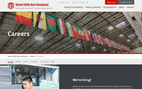 Screenshot of Jobs Page glbc.com - Join the Great Little Box Company Team | GLBC Career Postings - captured Sept. 24, 2018