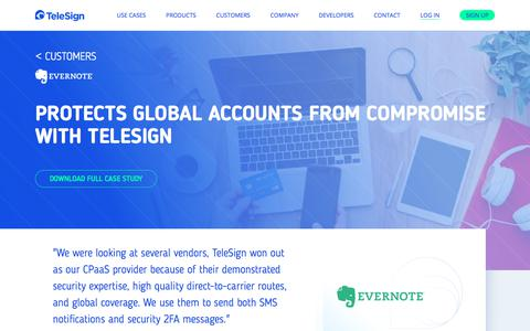 Screenshot of telesign.com - Evernote   TeleSign - captured June 18, 2017