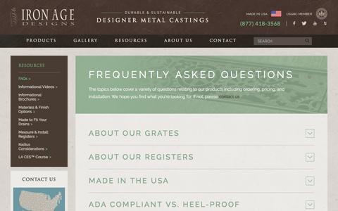 Screenshot of FAQ Page ironagegrates.com - FAQs - Iron Age Designs - captured Oct. 15, 2017