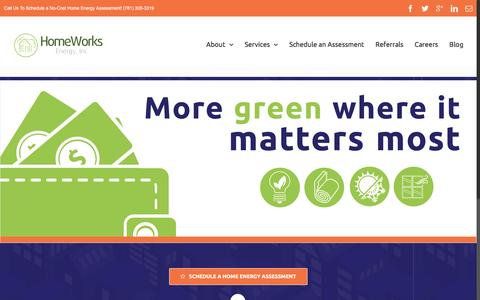 Screenshot of Home Page homeworksenergy.com - Save Energy & Money With a No-Cost MA Home Energy Assessment   HomeWorks Energy, Inc. - captured May 21, 2017