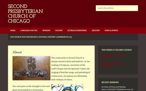 Screenshot of About Page 2ndpresbyterian.org - About - captured Oct. 3, 2014