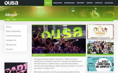Screenshot of About Page ousa.org.nz - About | OUSA - Otago University Students' Association - captured Oct. 19, 2018