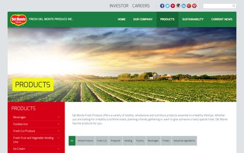 Screenshot of Products Page freshdelmonte.com - Products | Fresh Del Monte Produce Inc - captured Sept. 25, 2014