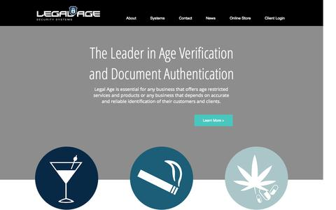 Screenshot of Home Page legalagesoftware.com - Legal Age Security Systems - captured Sept. 20, 2015