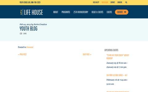 Screenshot of Blog lifehouseduluth.org - Youth Blog – Life House - captured Jan. 29, 2016