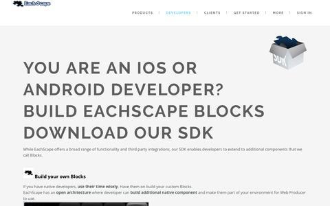 Screenshot of Developers Page eachscape.com - Developer - EachScape - captured July 10, 2016