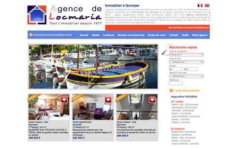 Screenshot of Home Page agence-de-locmaria.com - Agence Locmaria - captured Oct. 16, 2015